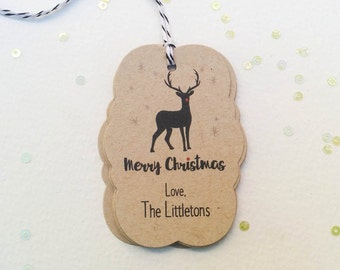 Personalized Reindeer gift tags - Reindeer holiday gift tags - Customized Christmas gift tags - brown kraft holiday tags (TH-32k)