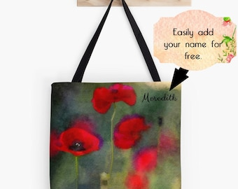 Red Flowers Tote Bag, Red Poppies Poppy Drawstring Bag, Floral Market Bag, Custom Tote Bag, Watercolor Art Purse, Personalized Backpack