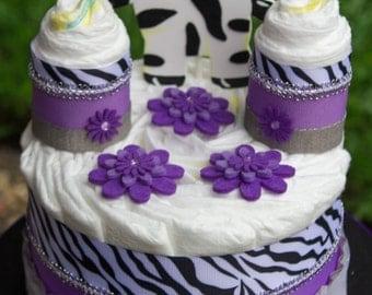 Zebra Baby Shower Centerpiece, Lavender Zebra Diaper Cake, Zebra Diaper Cake, Purple Diaper Cake