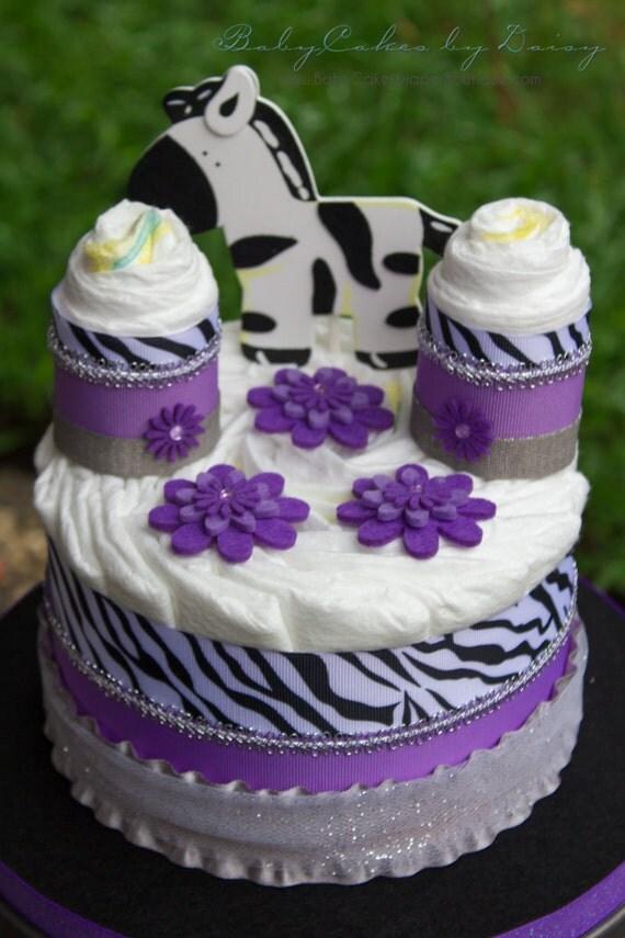 Zebra Baby Shower Centerpiece - Lavender Zebra Diaper Cake - Zebra Diaper Cake - Purple Diaper Cake - Zebra Baby Shower