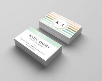 Instant Download - Monogram Flourish Business Card Template