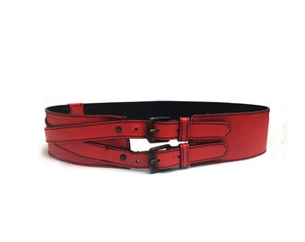Max Mara red leather waist cincher  belt