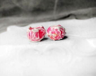 Polymer Clay Beads - 2 Rustic Faux Lampwork Rondelles  - Pink w Iridescent Sparkles, White Icing - Pair, Perfect for Earrings - Wedding Cake