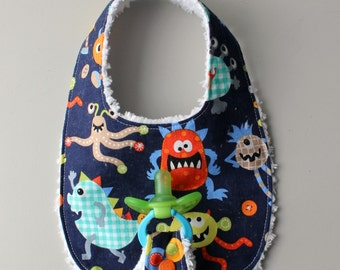 Baby Boy Binky Bib in Michael Miller Monster Mash Fabric with Chenille Back