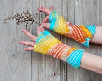 Hand felted mittens, arm warmers in pastel colors, fingerless gloves, nuno felted, silk wool mittens, wrist warmers, Winter fashion, OOAK