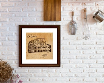 Rome Italy Landmark - Urban Style Travel, Modern Art Prints, Colosseum Graphics, Living Room Decor, Kitchen Decor, Brown and Chocolate