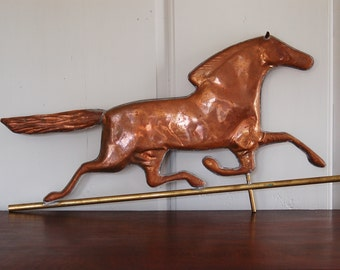 Copper Horse Weathervane, Full Bodied Running Horse, Smuggler Race Horse, Large Hand Made Trotting Horse Galloping Horse Wall Decor