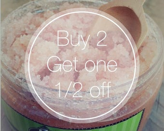 Body Scrub Deal ~  Buy 2 8 oz Scrubs and get the 3rd one half off ~ Made with honey, argan oil, macademia nut oil, and shea oil