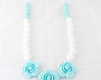 Light Blue Flower Teething Necklace