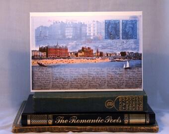 Brighton Beach, Seafront, Hilton Brighton Metropole, Sea, Sailing, Promenade, Sussex Art, British Seaside, Sailing, Vintage, Greeting Card.
