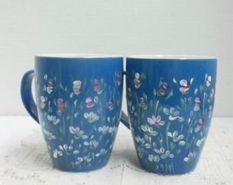 Ceramic Mugs, Coffee Cup, Blue and White, Hand Painted, Garden Design, Scandinavian Folk Art, Pink Rose Buds, White Daisies, Kitchen Decor.