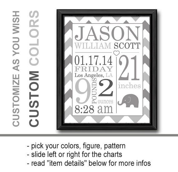 Monogrammed Baby Gifts Australia : Birth announcement wall art gray personalized baby gifts
