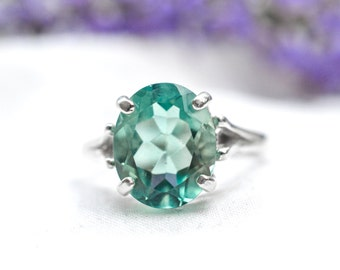 Natural Oval Cut Fluorite Ring in 925 Sterling Silver *Free Worldwide Shipping*