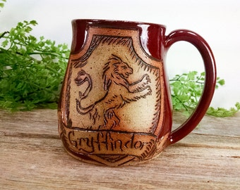 Gryffindor Mug - 16 oz Dark Red Wheel Thrown Hand Carved Coffee Cup