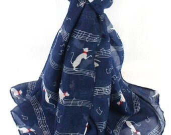 Blue Cat Scarf , Ladies Navy Cats and Musical Notes Wrap