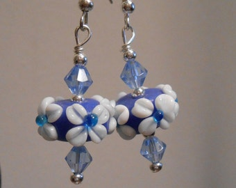 Floral Blue Glass Earrings Item No. 686