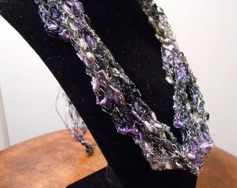 Purple, white and black Trellis Necklace/ Crochet Necklace Item No. 120a