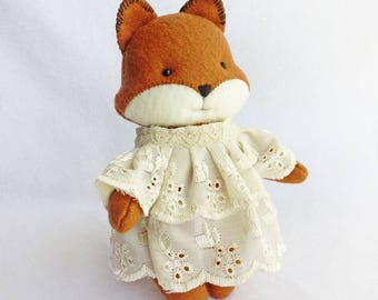 Felt Animal Plush, Fox Girl Felt Doll with Vintage Style White Lace Dress, Gift for Babies and Girls, Woodland Nursery Decor