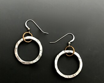 Hand Textured, Upcycled Aluminum and Brass Hoop Earrings