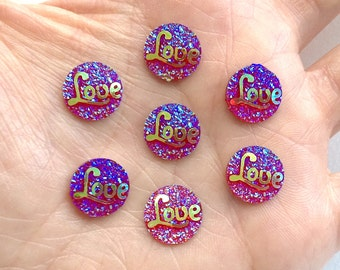 Red AB Round Glitter Love Word Resin Flatback Cabochon - 12mm - Decoden - DIY - Scrapbooking - Valentines Day - Jewelry