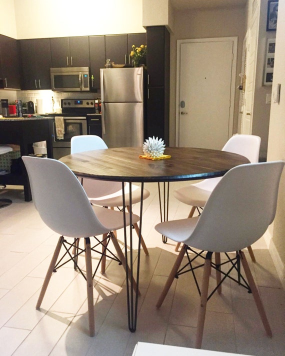 Round Tables For Kitchen: 40 Round Industrial Chic Kitchen Table With Handcrafted