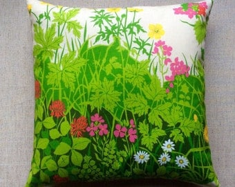 Vintage Floral Meadow Fabric Cushion With Interior 40cm x 40cm
