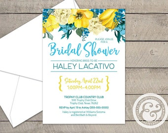 Yellow & Teal Floral Bridal Shower Invitation, Printable or Printed