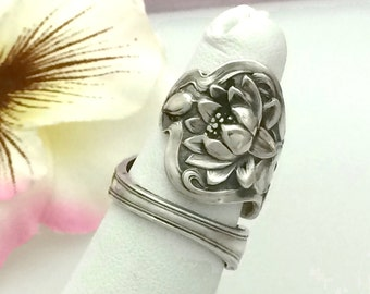 Sterling Silver Lotus Spoon Ring, Size 7 - 12 , POND LILY, Repurposed Watson Vintage Silverware Jewelry, Anniversary Gift