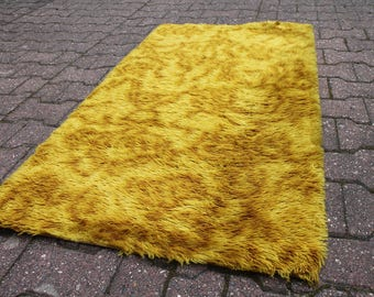 Original 60s 70s Incredible! Vintage Rug Shag Carpet Yellow Brown FIRE SUNBURST Great Colors! DESSO Wool Pop Design Space Age Abstract n1