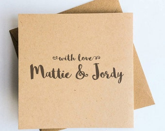 Personalized Thank You Stamp • With Love Stamp • Handmade By Stamp • Custom Name Rubber Stamp • Stationery • Wooden Handle • Holiday Card