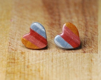 Heart Stud Earrings - Polymer Clay Earrings - Striped Mixed Metal Jewellery - Gold Silver Copper Rose Gold Earrings - Valentines Gift
