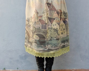 Village by the River Skirt Fairy tale Vintage Plus Size Clothing Woodland Gobelin Tapestry Fabric Clothing US size 16 / 20 EU size 46 / 50