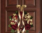 Wreath Black Friday Sale Christmas Wreath | Blended Hydrangea Wreath | Holiday Door Decor | Burgundy Red Hydrangeas | Holiday Front Door Wre