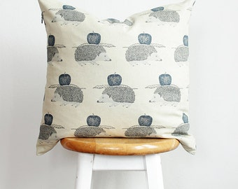 Hedgehog Pillow Case | Animal Print Throw Pillow | Blue & Cream Cushion Cover | Decorative Cushion | Accent Pillow {Hedgehog Cushion Cover}
