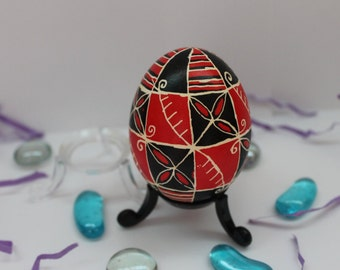 Red and Black Pysanky Egg