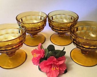 Set of four vintage Fostoria Whitehall amber sundae dessert dishes