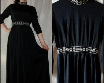 Vintage '70s Maxi Dress, Black & Silver, Metallic Trim, Long Sleeves, S/M