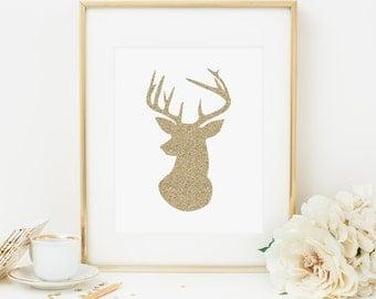 Deer Printable Nursery Deer Print Gold Nursery Decor Woodland Animal Woodland Nursery Decor Woodland Wall Art Deer Head Antlers Gold Glitter