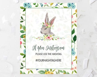 CUSTOM Baby Shower If You Instagram Table Sign Printable Spring Floral Instagram Baby Shower Sign Woodland Animal Instagram Sign Rabbit 233