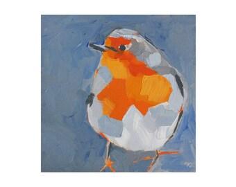 outdoors gift - robin oil painting - art print - bird art print - robin gifts - orange robin red breast - blue