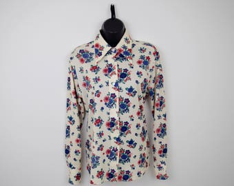 DISCO Floral Long Sleeve Vintage Polyester Blouse / Sears / Size 14