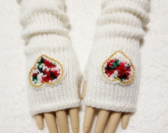 Wool Sparkle Yarn Fingerless Gloves With Hearts