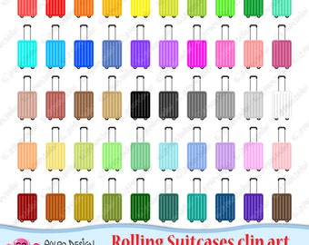 50 colorful Rolling Suitcase clipart. Digital Suitcase clip art, rolling luggage clipart, travel suitcase wheeled suitcase suitcases clipart