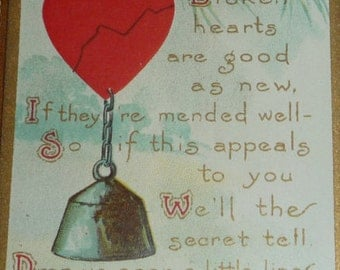 Broken Hearts Are Mended Unused Antique Valentine
