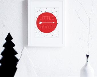 Little Brother Art Printables, Arrows Art Print, Black and Red Little Boys Room Decor, Monochrome Nursery Wall Art, Modern Nursery Decor