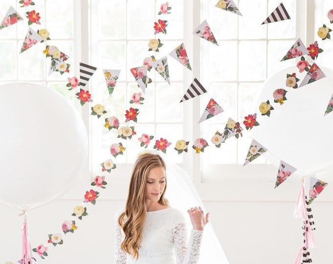 SALE Floral Banner, Botanical Flower Banner, Floral Party, Bridal Banner, Rose Wedding Banner, Flower Banner, BTP405