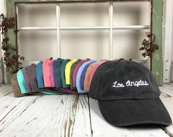 Washed Hats   LOS ANGELES , Cursive , LA Baseball Cap , West Coast , Dad Hats , Baseball Hat , Embroidered , La Hat , Tumblr Hats , Dad Hats