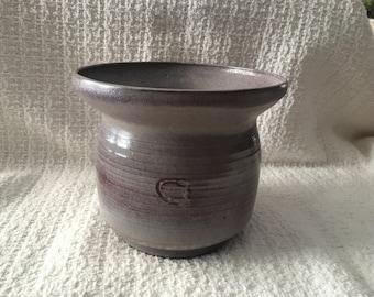 Pottery Planter Pot Vase, Lavender Clay Pot, Hand thrown, Flared Rim,  Signed C A, Lavender and Brown Pot, Unique Pot Planter