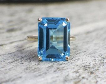 14K Topaz Octagon Emerald Cut Statement Ring