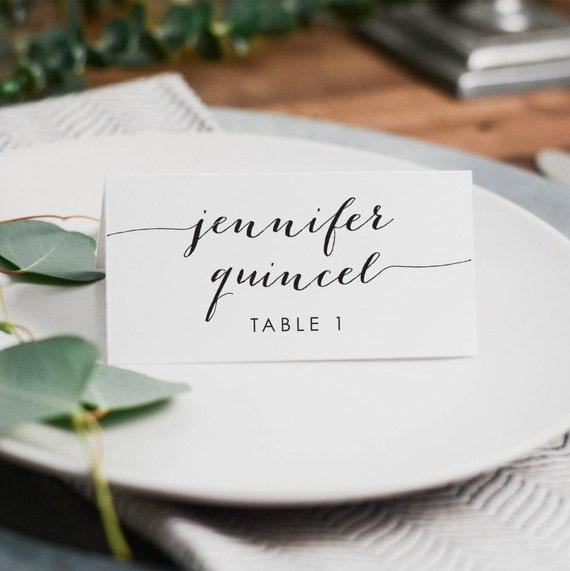 Printable wedding place cards custom designed wedding place for Personalized wedding place cards